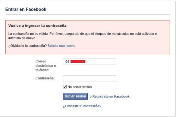 Facebook entrando en conflicto.